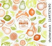 citrus fruits seamless pattern. ... | Shutterstock .eps vector #1149737690