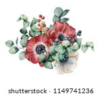 watercolor bouquet with anemone ... | Shutterstock . vector #1149741236