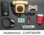 retro objects on gray... | Shutterstock . vector #1149760439