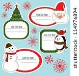 christmas frame set design.... | Shutterstock .eps vector #114976894