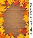 autumn leaves on wooden...   Shutterstock .eps vector #1149790760