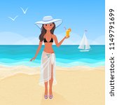 young pretty tanned girl in... | Shutterstock .eps vector #1149791699