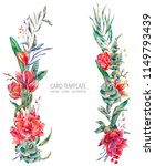 watercolor floral wreath of red ... | Shutterstock . vector #1149793439