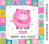 2019 happy new year greeting... | Shutterstock . vector #1149809426