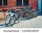 bicycles parked in nida resort... | Shutterstock . vector #1149810059