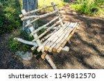 wooden bench from birch logs. | Shutterstock . vector #1149812570