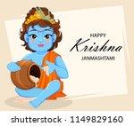 happy krishna janmashtami... | Shutterstock .eps vector #1149829160