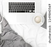 fashion blogger workspace with... | Shutterstock . vector #1149840569