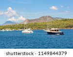 yachts at the vulcano island ... | Shutterstock . vector #1149844379