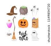 vector set of halloween signs... | Shutterstock .eps vector #1149854720