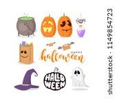 vector set of halloween signs ... | Shutterstock .eps vector #1149854723