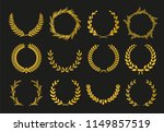 golden vector laurel wreaths on ... | Shutterstock .eps vector #1149857519