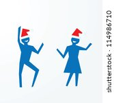 christmas party concepts, paper people cutouts illustrations - stock photo