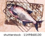 raw fish on grill grill. | Shutterstock . vector #1149868130