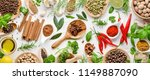 various herbs and spices. flat... | Shutterstock . vector #1149887090