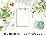 stylized women's desk.... | Shutterstock . vector #1149891203