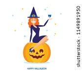 cute cartoon halloween witch... | Shutterstock .eps vector #1149891950