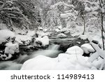 winter landscape, river on the forest - stock photo
