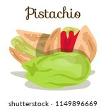 pistachio nuts with leaves.... | Shutterstock .eps vector #1149896669