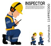 an inspector is writing on the... | Shutterstock .eps vector #1149902300