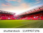 Small photo of LIVERPOOL, UNITED KINGDOM - MAY 17 2018: Anfield stadium, the home ground of Liverpool FC which has a seating capacity of 54,074 making it the sixth largest football stadium in England