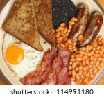 Full English cooked breakfast viewed from above - stock photo
