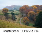 foggy autumn view of a farm... | Shutterstock . vector #1149915743