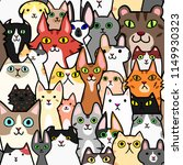 seamless doodle cats faces... | Shutterstock .eps vector #1149930323