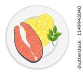 dish with fresh salmon steak...   Shutterstock .eps vector #1149943040