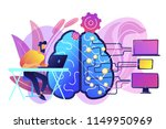 brain with digital circuit and... | Shutterstock .eps vector #1149950969