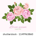 Stock vector vector pink and beige roses with green leaves on the white background wedding invitation 1149963860