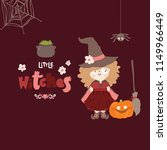 cute little witch. halloween... | Shutterstock .eps vector #1149966449