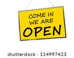 come in we are open sign... | Shutterstock . vector #114997423