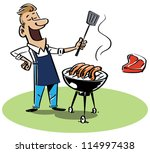 man with a barbecue grill. the... | Shutterstock .eps vector #114997438
