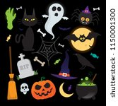 halloween vector elements icons ... | Shutterstock .eps vector #1150001300