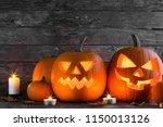 halloween pumpkin heads jack o... | Shutterstock . vector #1150013126