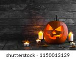 halloween pumpkin head jack o... | Shutterstock . vector #1150013129