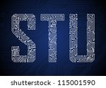 set of circuit board style... | Shutterstock .eps vector #115001590