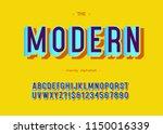 vector modern font 3d... | Shutterstock .eps vector #1150016339