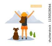young happy traveling hiker... | Shutterstock .eps vector #1150028066