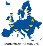 Europe Map  European Union Flag