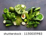 set raw healthy food clean... | Shutterstock . vector #1150035983