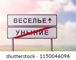 white road signs with the... | Shutterstock . vector #1150046096