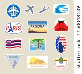 cartoon color travel stickers... | Shutterstock .eps vector #1150048139