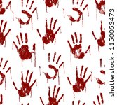 red bloody scary hands imprint... | Shutterstock .eps vector #1150053473