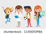 group of pupils is standing and ... | Shutterstock .eps vector #1150053986