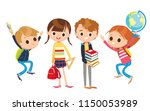 group of pupils is standing and ... | Shutterstock .eps vector #1150053989