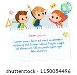 group of pupils jumping... | Shutterstock .eps vector #1150054496