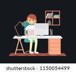 young male freelancer is... | Shutterstock .eps vector #1150054499