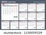 2019 calendar template  planner ... | Shutterstock .eps vector #1150059239
